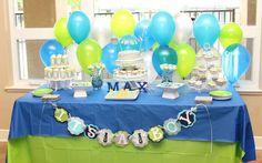 Lime Green & Aqua Blue Necktie Little Man Shower  Baby Shower Party Ideas | Photo 19 of 31