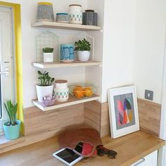 Inspiration from @aliceinscandiland - beautiful kitchen styling featuring @inaluxe print: Blossom II  PS. 20% off framed art ends at midnight!  #shelfie #shelfreshuffle #aliceinscandiland #shelves #kitchen #homestyle #house #inaluxe #missprint #geometti #tiger #succulents #orlakiely #wood #kitchenstyle #scandi #moderninterior #colourpop #colourful #colourfullife #stuff #mystuff #kingandmcgaw #instahome