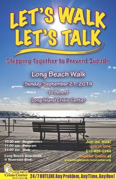 The Long Island Crisis Center will hold its 6th Annual Suicide Prevention Walk this Sunday, September 21.