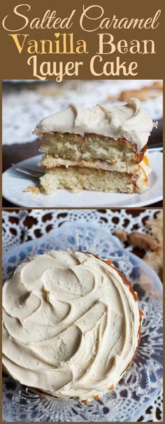 Salted Caramel Vanilla Bean Layer Cake - Baking, Desserts, etc - Kuchen Cookie Frosting Recipe, Frosting Recipes, Cake Recipes, Dessert Recipes, Vanilla Caramel Cake Recipe, Salted Caramel Desserts, Salted Caramels, Vanilla Cake, Just Desserts