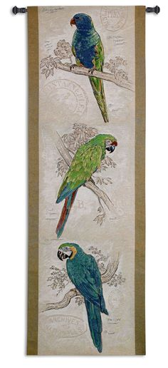 Fine Art Tapestries Tropical Birds by Chad Barrett Tapestry Tapestry Weaving, Hanging Wall Art, Tapestry Wall Hanging, Bird Artwork, Framed Artwork, Chad Barrett, Parrot Image, Tropical Birds, Modern Tropical