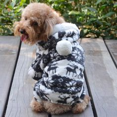 Cute Warm Winter Hoodie Jumpsuit Coat Clothes Costume For Pet Dog