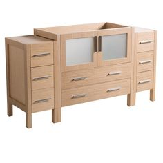 Fresca 60 in. Torino Modern Bathroom Vanity Cabinet in Light Oak