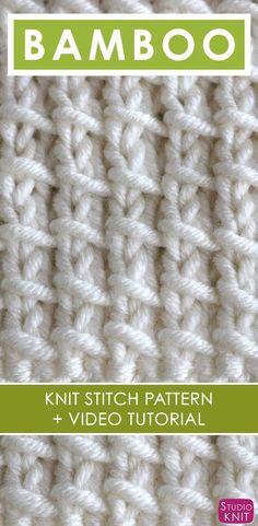 Bamboo Knit Stitch Pattern and Video Tutorial by Studio Knit Bamboo Knit Stitch Pattern and Video Tutorial by Studio Knit Knitting Stiches, Knitting Videos, Loom Knitting, Knitting Patterns Free, Free Knitting, Knitting Projects, Crochet Stitches, Stitch Patterns, Knifty Knitter