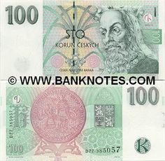 czech republic currency | Czech Republic 100 Korun 1997 - Czech Currency Bank Notes, Paper Money ...