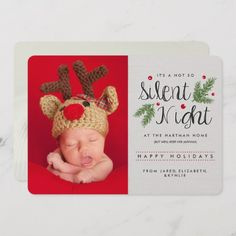 Shop Silent Night Birth Announcement Holiday Card created by Orabella. Personalize it with photos & text or purchase as is! Baby Christmas Photos, Newborn Christmas, Babies First Christmas, Christmas Photo Cards, Holiday Cards, Xmas Cards, Holiday Fun, Holiday Decor, Holiday Birth Announcement