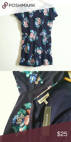 """NWT Floral Romper with Pockets Very cute navy romper with floral pattern in pink, blue, and teal. High neckline,  short sleeves, and v-neck back. Zipper back. Fits like a 4/6. 30"""" length, 15"""" waist, 16"""" bust, 2.5"""" inseam, 18"""" hips. Monteau Pants Jumpsuits & Rompers"""