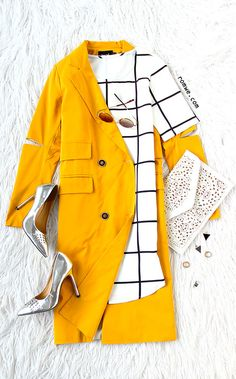 Office Lady - Yellow Double Breasted Pocket Trench Coat With Elbow Slit with plaid dress and grey heels from romwe.com