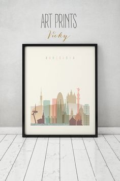Barcelona print, Poster, Wall art, Barcelona Spain skyline, City poster, Typography art, Home Decor, Digital Print, ART PRINTS VICKY.