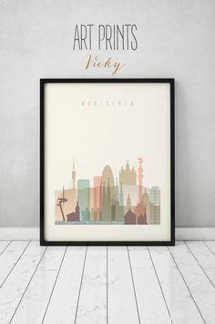 Barcelona print, Poster, Wall art, Barcelona Spain skyline, City poster, Typography art, Home Decor, Digital Print, ART PRINTS VICKY.