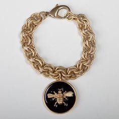 Wimberly Inc - Classic Charm Bracelet - Enamel Bee Charm