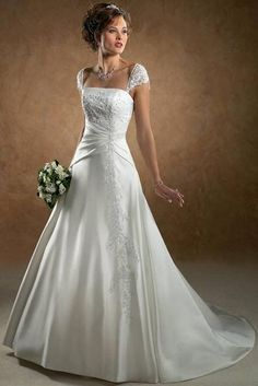 Idea to redesign my wedding dress. A-line, hip cinch with Sweetheart Lace Cap Sleeves