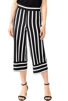 Striped Pull-On Gaucho Pants with Cuff Detail Bali Retreat, Gaucho, Summer Tops, Detail, Pants, Collection, Dresses, Fashion, Summer Tank Tops