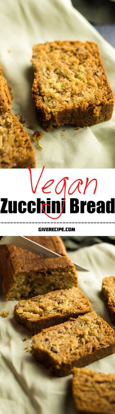 The BEST vegan zucchini bread. Moist, fluffy, nutty and healthy.Nobody can understand that it's vegan. | giverecipe.com | #zucchini #vegan
