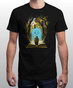"""Book of Magic and Adventures"" is today's £9/€11/$12 tee for 24 hours only on www.Qwertee.com Pin this for a chance to win a FREE TEE this weekend. Follow us on pinterest.com/qwertee for a second! Thanks:)"
