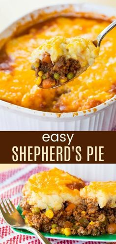 Easy Shepherd's Pie - a simple recipe for the classic comfort food casserole. - Rezepte Abendessen 1 - Easy Shepherd's Pie - a simple recipe for the classic comfort food casserole. Easy Pie Recipes, Cooking Recipes, Food Recipes For Dinner, Cooking Food, Recipes For Casseroles, Ethnic Food Recipes, Meat Dinner Ideas, Dinner Ideas For Family, Simple Easy Dinner Recipes