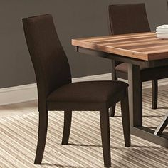 A Line Furniture Ergonomic Designed Wood Frame Brown Upholstered Dining Chairs (Set of 2)