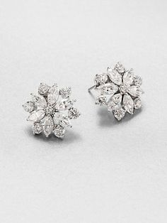 Adriana Orsini - Faceted Floral Sterling Silver Button Earrings - Saks.com