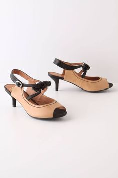 Black-Tie Kitten Heels Sandals Shoes By Miss Albright Anthropologie, Size 8.5 #Anthropologie #OpenToe #PartyWearToWorkCasual