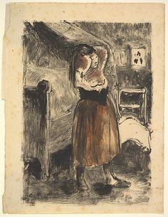 Woman Arranging Her Hair Camille Pissarro (French, Charlotte Amalie, Saint Thomas 1830–1903 Paris) Date: 1894