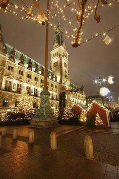 Sparkling Christmas lights in Hamburg, Germany. Christmas In Germany, German Christmas Markets, Christmas In Europe, Christmas In The City, Christmas Place, Christmas Scenes, Noel Christmas, Christmas Lights, Xmas