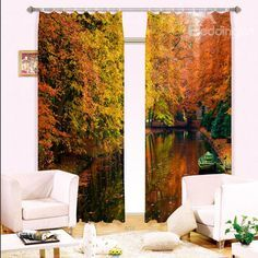 Amazing Boat on Still Water Printing Blackout 3D Curtain on sale, Buy Retail Price 3D Scenery Curtains at Beddinginn.com