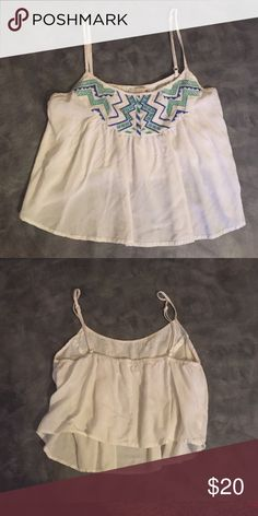 GB crop top Size xs GB white crop top with colorful tribal GB Tops Crop Tops