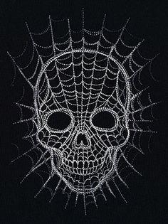 """Spiderweb Skull"" Creepy spiderwebs make up a classic skull design, perfect for Halloween decor and more. - UT6963, UT6964, UT6962 (Machine Embroidery) 00559339-110413-0811-4"