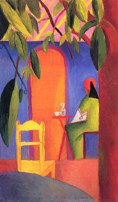 Artist August Macke (1887–1914) Link back to Creator infobox template wikidata:Q33981 Title Deutsch: Türkisches Café (II) Date1914 Medium Deutsch: Öl auf Sperrholz Dimensions60 × 35 cm (23.6 × 13.8 in)