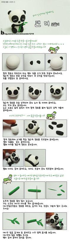 Tutorial Polymer Clay Kawaii Panda & Bamboo