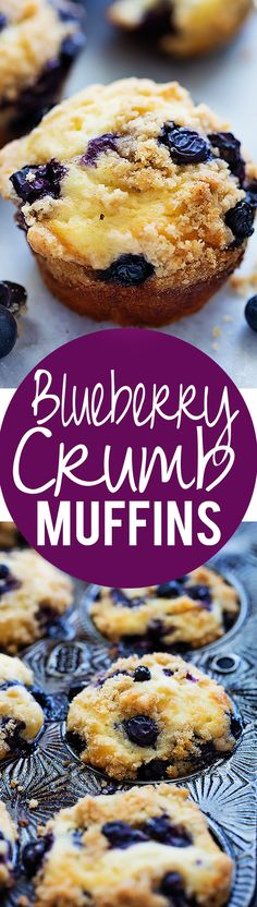 Blueberry Crumb Muffins - perfect, bakery-style super moist blueberry muffins made with GREEK YOGURT and a sweet and salty crumb topping! | Creme de la Crumb