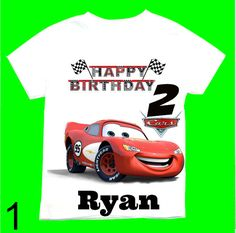 Cars Birthday Boy T Shirts With The Name Age Personalized 12Months18Months2T