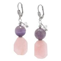 Rita Tesolin Rose Quartz & Amethyst Drop Earrings