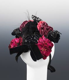 Evening bonnet Department Store: Journeay & Burnham  Date: ca. 1892 Culture: American Medium: silk, cotton, jet, feather Accession Number: 2009.300.1548