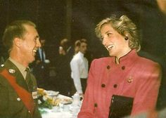 "October 18, 1985: Princess Diana laughing with platoon Sargeant Major, ""Spider"" Kerswell while visiting The Royal Hampshire Regiment in West Berlin, Germany."