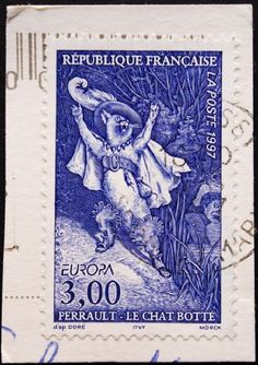 1997 French Stamp - Puss n' Boots aka Le Chat Botte - based upon the 1860s work of French Artist Gustave Dore