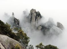 The Taimu mountain in Fujian province, China. The mountain's beauty is shrouded in mystery.and fog. Landscape Photography, Nature Photography, Fujian China, China Travel, China Trip, Asian Landscape, Virtual Travel, Nature View, Adventure Is Out There