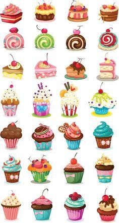 Set of 28 vector cartoon cupcakes, birthday cakes and pies for your birthday car. - Set of 28 vector cartoon cupcakes, birthday cakes and pies for your birthday cards, invitations, po - Cupcake Illustration, Illustration Art, Cartoon Cupcakes, Cupcake Kunst, Cupcake Art, Art Cupcakes, Cupcake Painting, How To Draw Cupcakes, Cute Cupcake Drawing