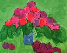 Walasse Ting / found on www.kunzt.gallery / I Love Cherries and Flowers, 1980 / Lithograph