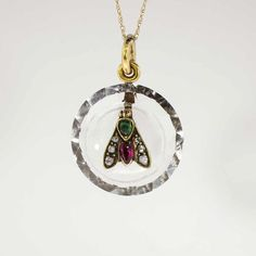 Rare 1860's Ruby, Emerald, Rose Cut Diamonds, Rock Crystal Make Up This  Insect Pendant 14K.