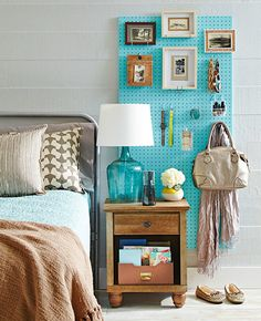 Short on storage space? Use a pegboard.