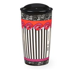 An exclusive designer ceramic coffee mug from the Anna Sui + Starbucks Collection. This designer mug features rose stripe artwork inspired by an iconic dress from Anna Sui's fashion line.