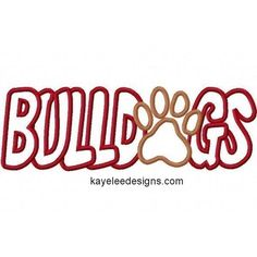 Bulldogs with a Paw Print Embroidery Machine Applique by kayelee, $5.00