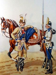 Regiment Foot Crown Guard in 1792. On the left of the regiment chief Lieutenant General Prince Jozef Poniatowski. On the right grenadier in summer uniform. Fig. B. Gembarzewski.