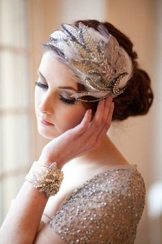 Gorgeous head piece and wristlet love everything about this - 46 Great Gatsby Inspired Wedding Dresses and Accessories