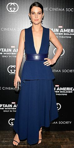 Last Night's Look: Love It or Leave It? | COBIE SMULDERS | The actress takes the plunge in a navy blue extreme V-neck Sportmax gown with an asymmetrical hem and leather belt at the Cinema Society premiere of Captain America: The Winter Soldier in N.Y.C.