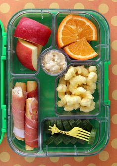 Vegan Lunch Ideas - Prosciutto Sticks | Martha Stewart Living - Sliced prosciutto is delicious wrapped around crunchy bread sticks! (Regular ham would work well too.) Pack them into one section of a multi-compartment bento box , then fill the rest of the sections with other snacky items: apples, oranges, Pirate's Booty, and cucumbers with dip.