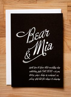 black and white calligraphy invite