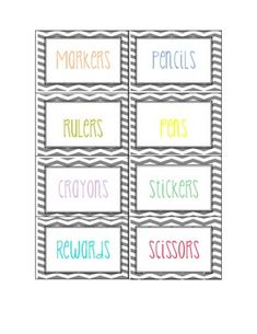 These are classroom labels with pastel colored print with a grey chevron background. Use to label bins, baskets, folders, ect! Includes 3 pages of labels already typed up, and 1 page of blanks to fill in what you need. Classroom Labels, Future Classroom, School Classroom, Classroom Themes, Classroom Design, School Binders, Classroom Helpers, Classroom Freebies, Chevron Labels