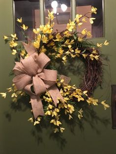 Rustic, Country Forsythia and Fern Floral Spring Grapevine Wreath w/Burlap Bow